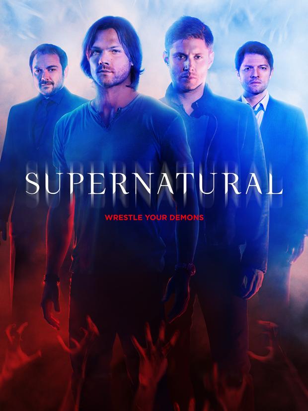 Supernatural Crowley Sam Dean Castiel poster completo